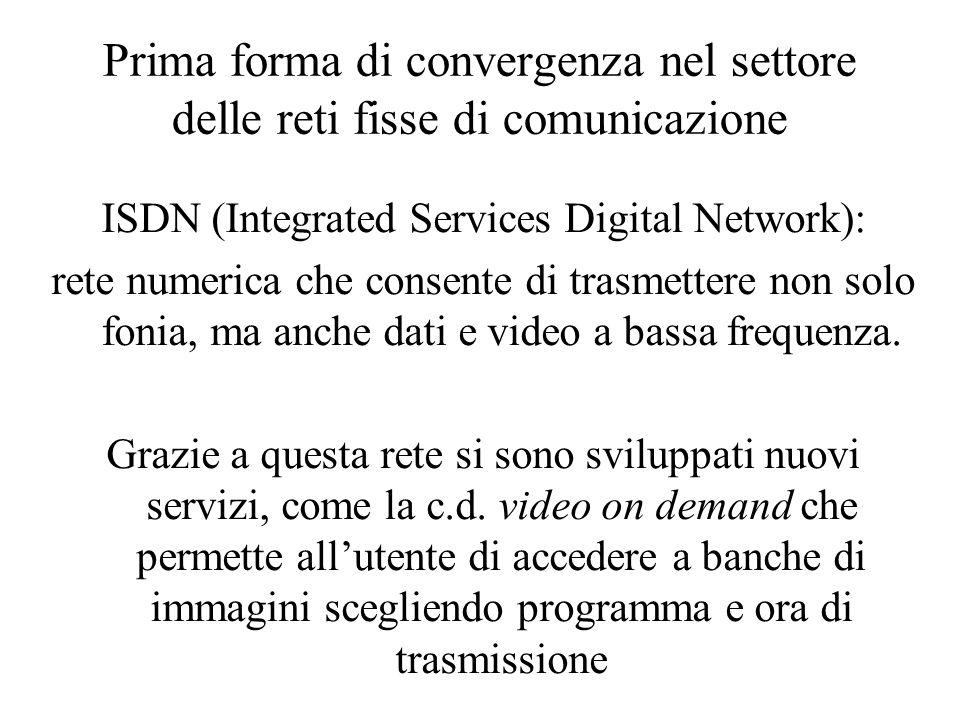 Prima forma di convergenza nel settore delle reti fisse di comunicazione ISDN (Integrated Services Digital Network): rete numerica che consente di trasmettere non solo fonia, ma anche dati e video a bassa frequenza.