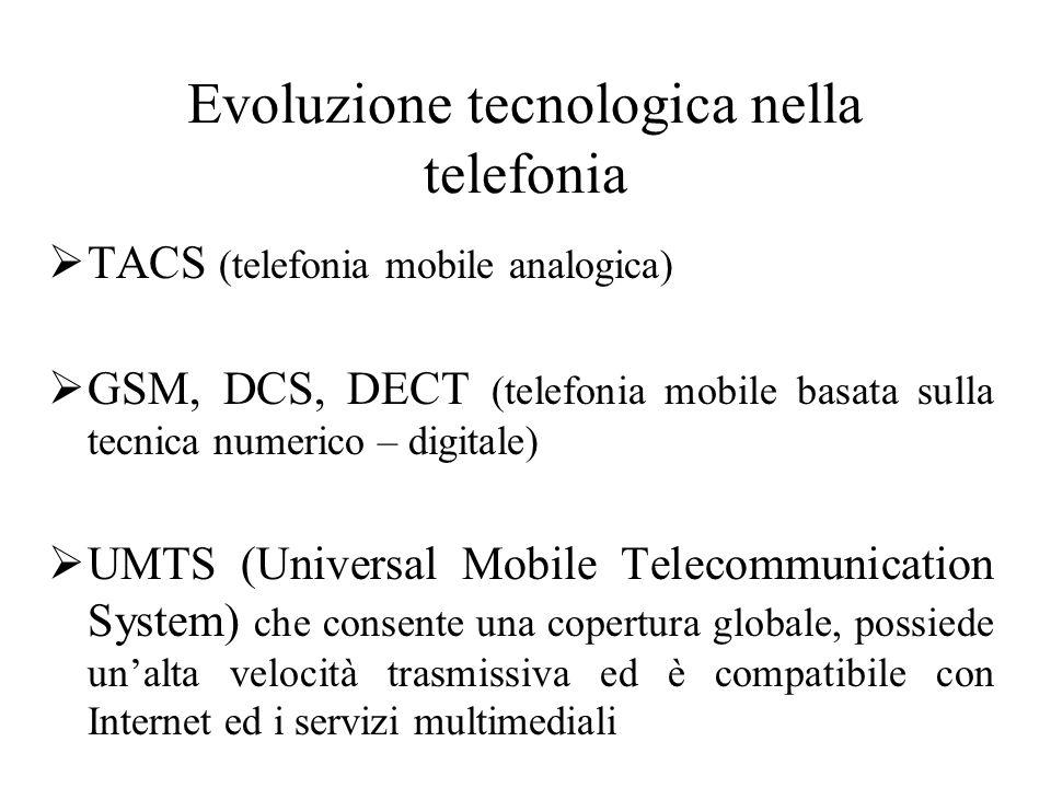Evoluzione tecnologica nella telefonia  TACS (telefonia mobile analogica)  GSM, DCS, DECT (telefonia mobile basata sulla tecnica numerico – digitale)  UMTS (Universal Mobile Telecommunication System) che consente una copertura globale, possiede un'alta velocità trasmissiva ed è compatibile con Internet ed i servizi multimediali
