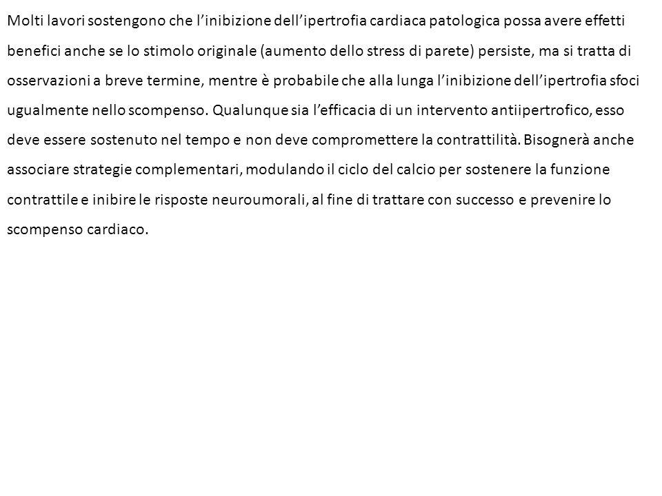 Molti lavori sostengono che l'inibizione dell'ipertrofia cardiaca patologica possa avere effetti benefici anche se lo stimolo originale (aumento dello