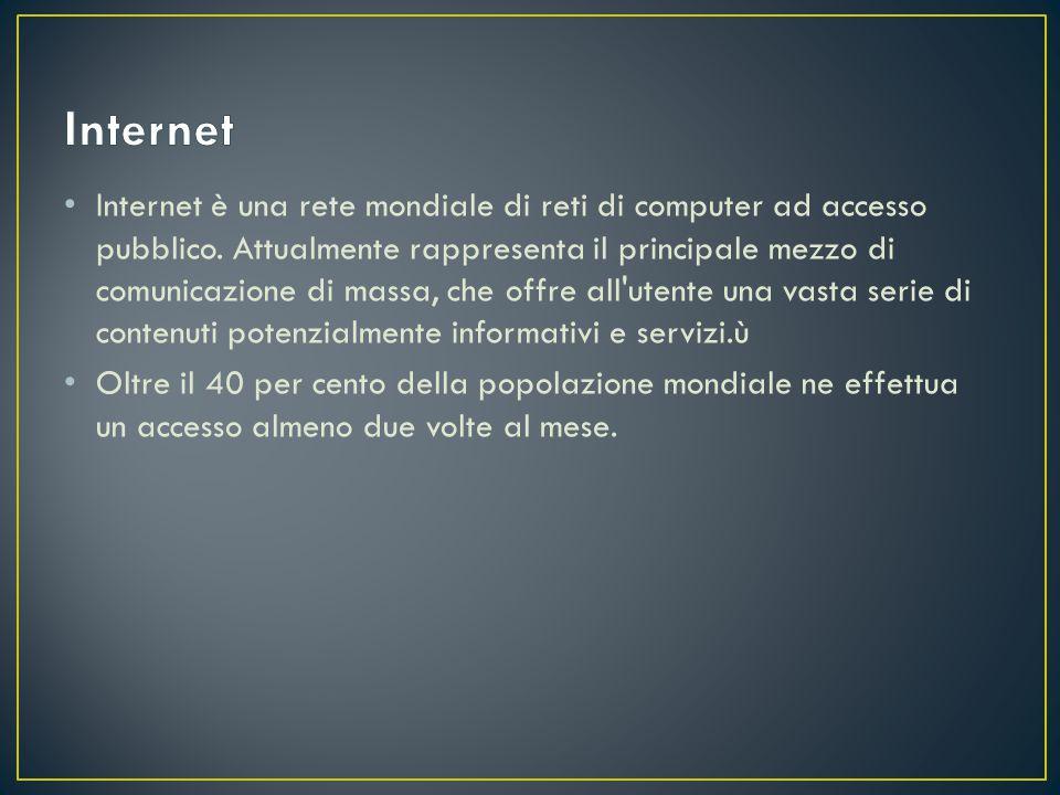 Internet è una rete mondiale di reti di computer ad accesso pubblico.