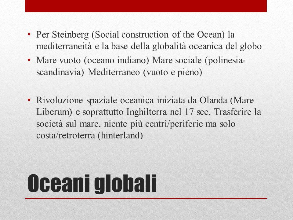 Oceani globali Per Steinberg (Social construction of the Ocean) la mediterraneità e la base della globalità oceanica del globo Mare vuoto (oceano indi
