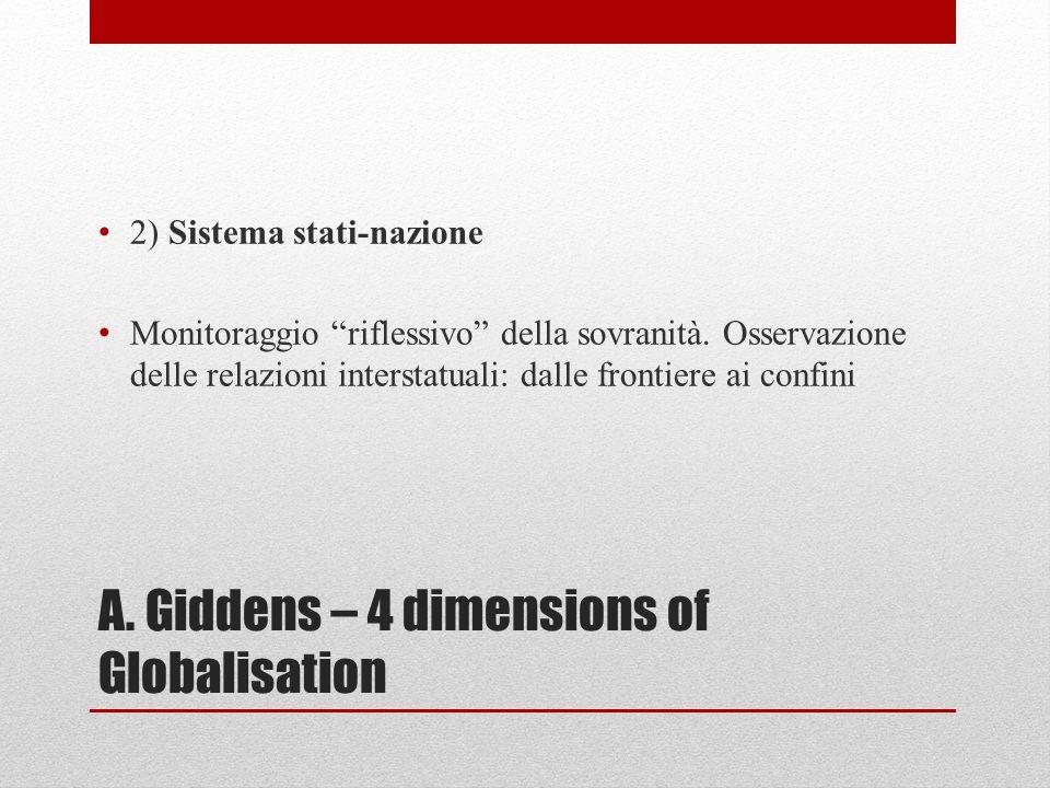 """A. Giddens – 4 dimensions of Globalisation 2) Sistema stati-nazione Monitoraggio """"riflessivo"""" della sovranità. Osservazione delle relazioni interstatu"""