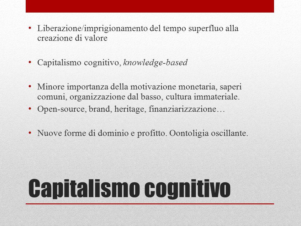 Capitalismo cognitivo Liberazione/imprigionamento del tempo superfluo alla creazione di valore Capitalismo cognitivo, knowledge-based Minore importanz