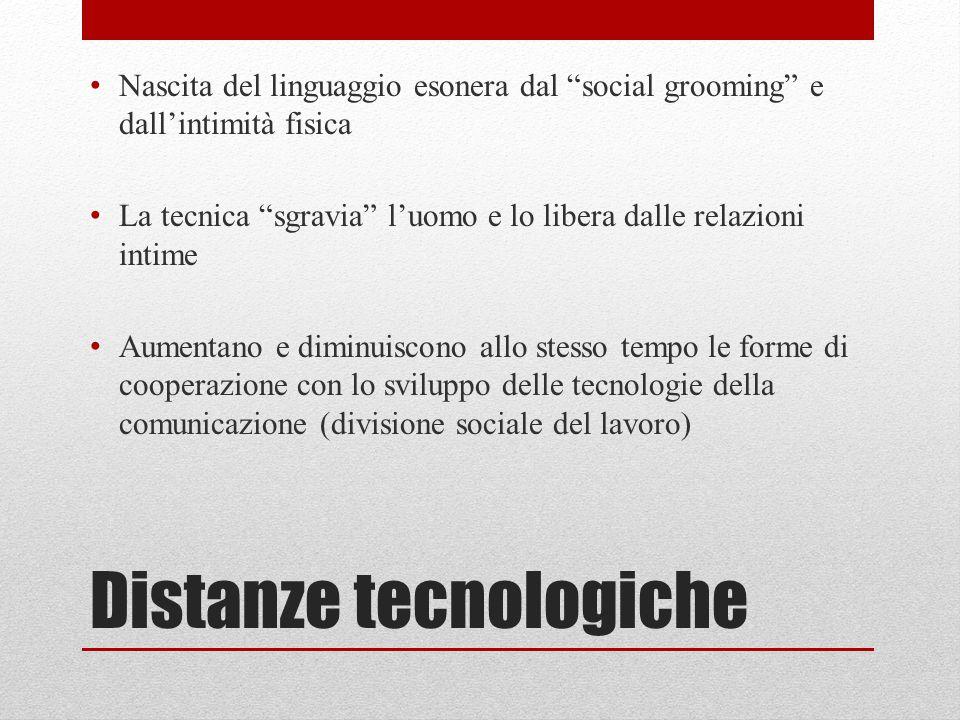 """Distanze tecnologiche Nascita del linguaggio esonera dal """"social grooming"""" e dall'intimità fisica La tecnica """"sgravia"""" l'uomo e lo libera dalle relazi"""