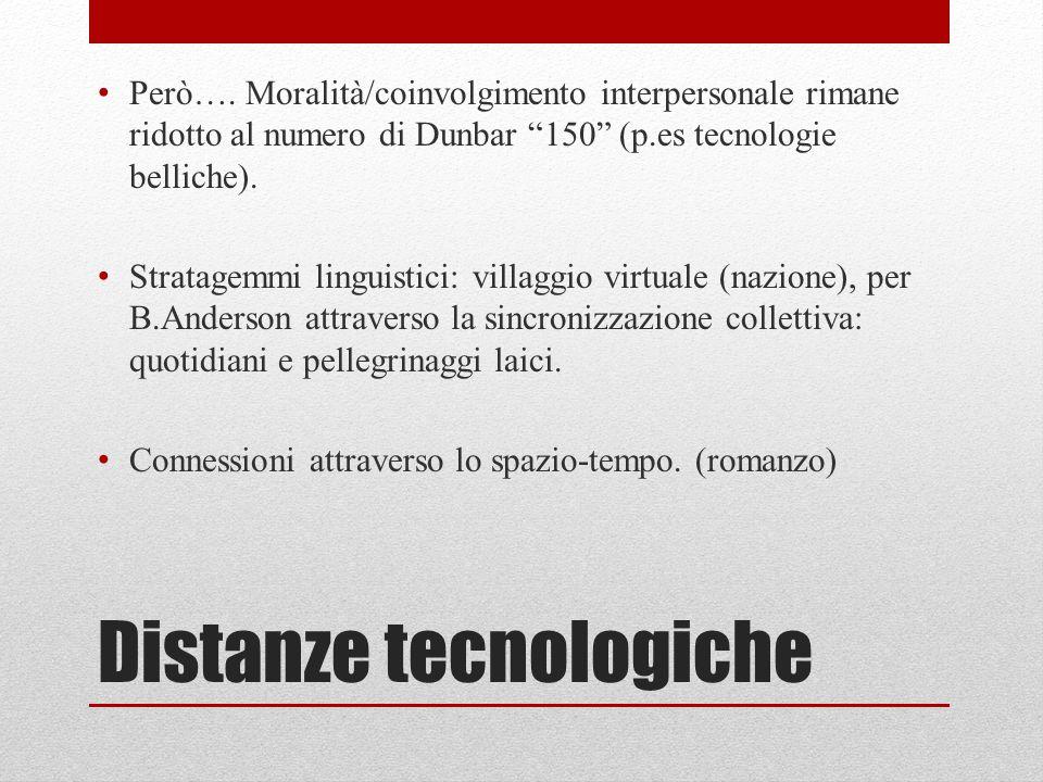 """Distanze tecnologiche Però…. Moralità/coinvolgimento interpersonale rimane ridotto al numero di Dunbar """"150"""" (p.es tecnologie belliche). Stratagemmi l"""