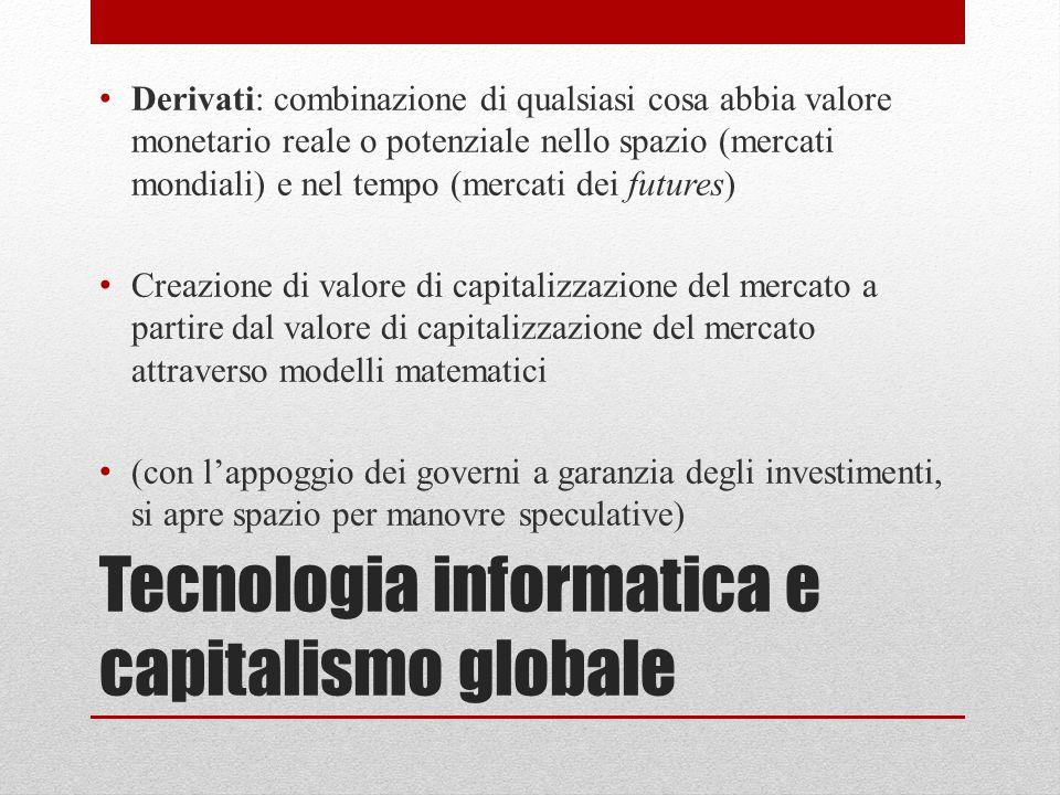 Tecnologia informatica e capitalismo globale Derivati: combinazione di qualsiasi cosa abbia valore monetario reale o potenziale nello spazio (mercati