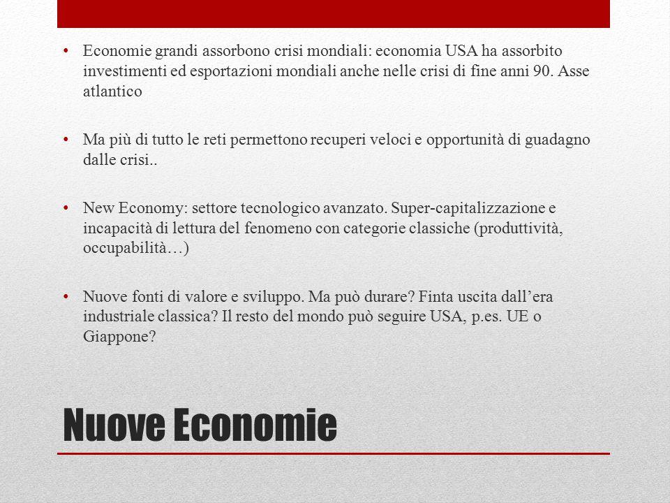 Nuove Economie Economie grandi assorbono crisi mondiali: economia USA ha assorbito investimenti ed esportazioni mondiali anche nelle crisi di fine ann