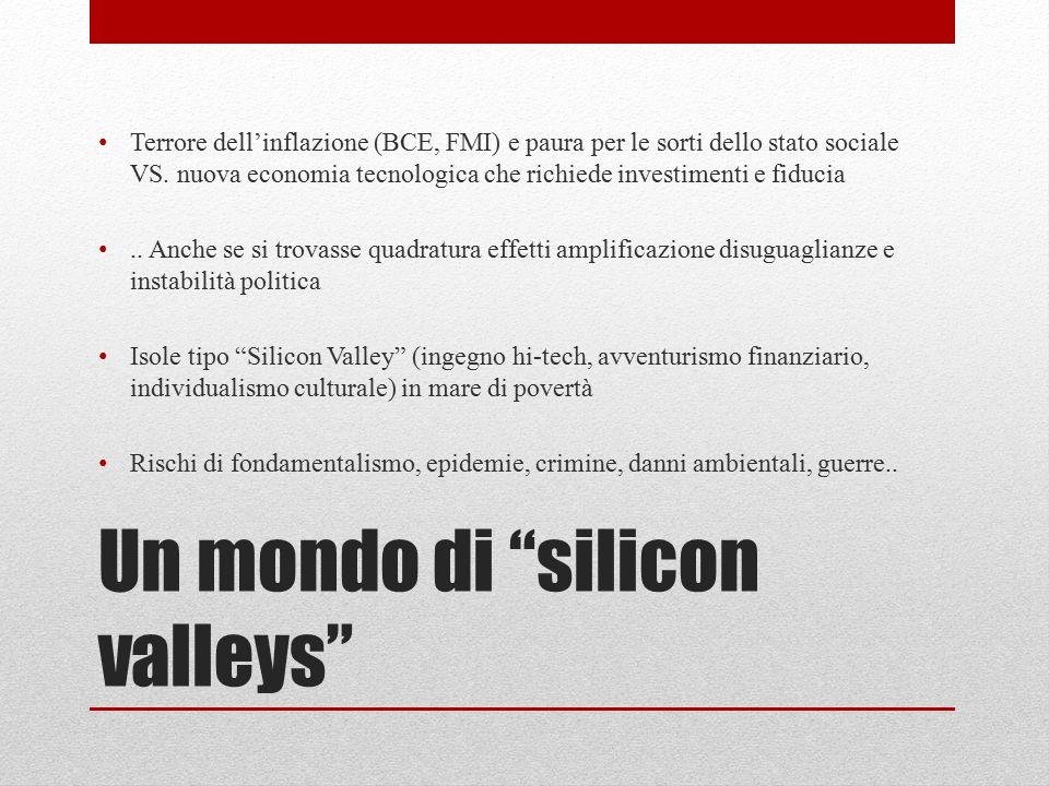 """Un mondo di """"silicon valleys"""" Terrore dell'inflazione (BCE, FMI) e paura per le sorti dello stato sociale VS. nuova economia tecnologica che richiede"""