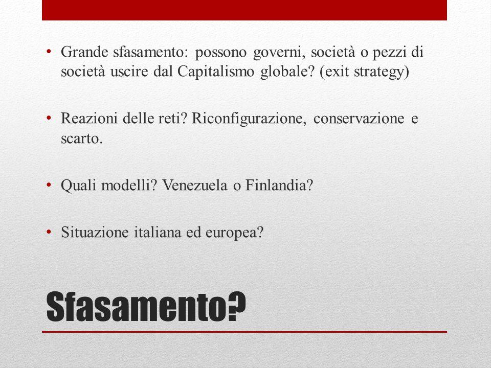Sfasamento? Grande sfasamento: possono governi, società o pezzi di società uscire dal Capitalismo globale? (exit strategy) Reazioni delle reti? Riconf