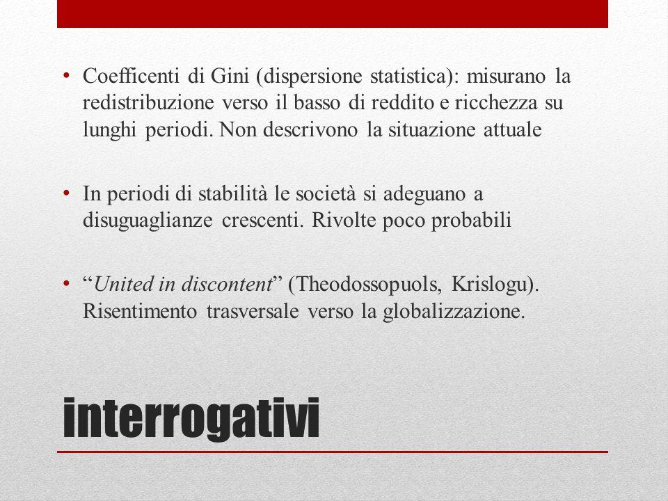 interrogativi Coefficenti di Gini (dispersione statistica): misurano la redistribuzione verso il basso di reddito e ricchezza su lunghi periodi. Non d