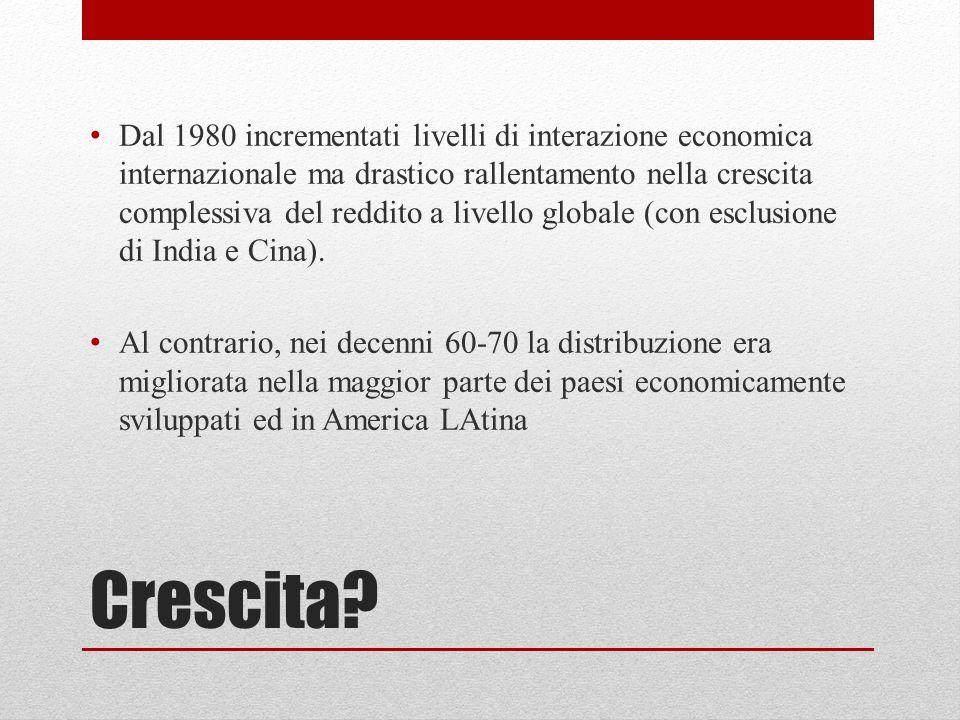 Crescita? Dal 1980 incrementati livelli di interazione economica internazionale ma drastico rallentamento nella crescita complessiva del reddito a liv