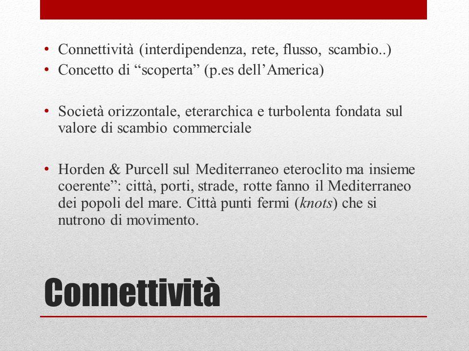 """Connettività Connettività (interdipendenza, rete, flusso, scambio..) Concetto di """"scoperta"""" (p.es dell'America) Società orizzontale, eterarchica e tur"""