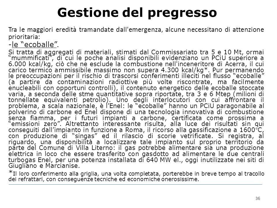 36 Gestione del pregresso 36 Tra le maggiori eredità tramandate dall emergenza, alcune necessitano di attenzione prioritaria: -le ecoballe .