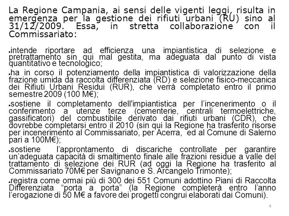 4 La Regione Campania, ai sensi delle vigenti leggi, risulta in emergenza per la gestione dei rifiuti urbani (RU) sino al 31/12/2009.