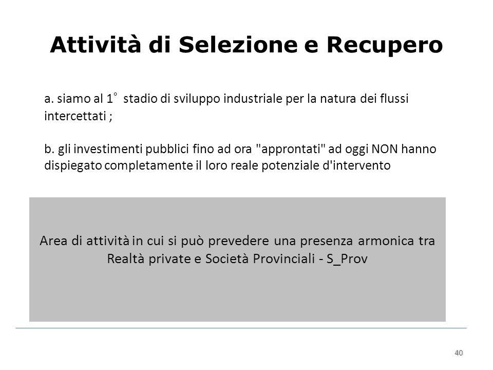 40 Attività di Selezione e Recupero 40 a.