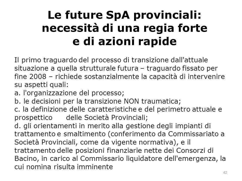 42 Il primo traguardo del processo di transizione dall attuale situazione a quella strutturale futura – traguardo fissato per fine 2008 – richiede sostanzialmente la capacità di intervenire su aspetti quali: a.