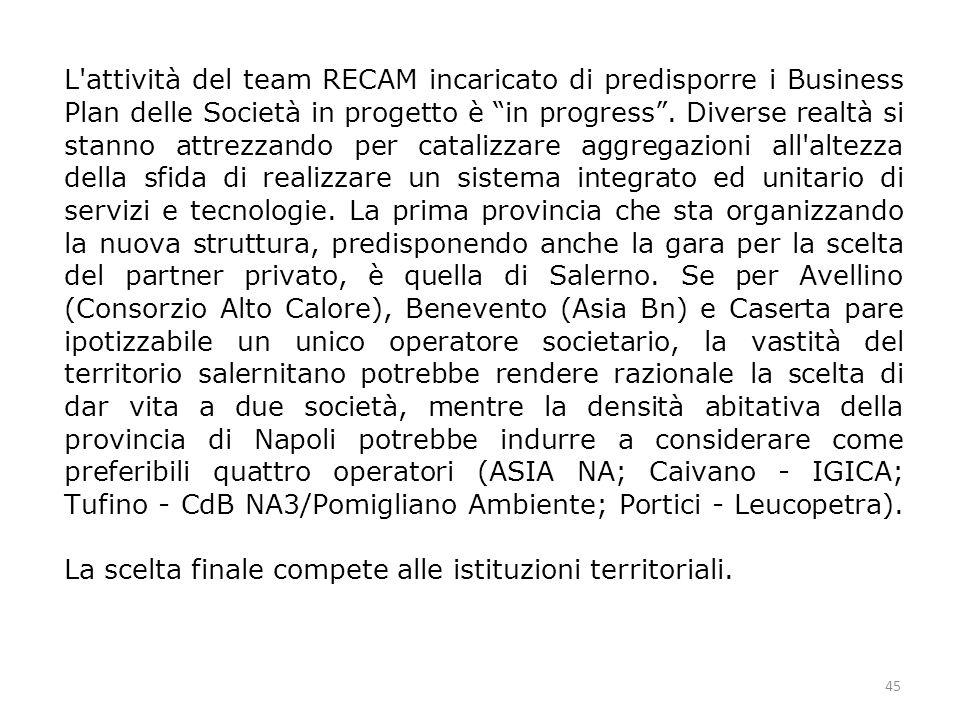 45 L attività del team RECAM incaricato di predisporre i Business Plan delle Società in progetto è in progress .
