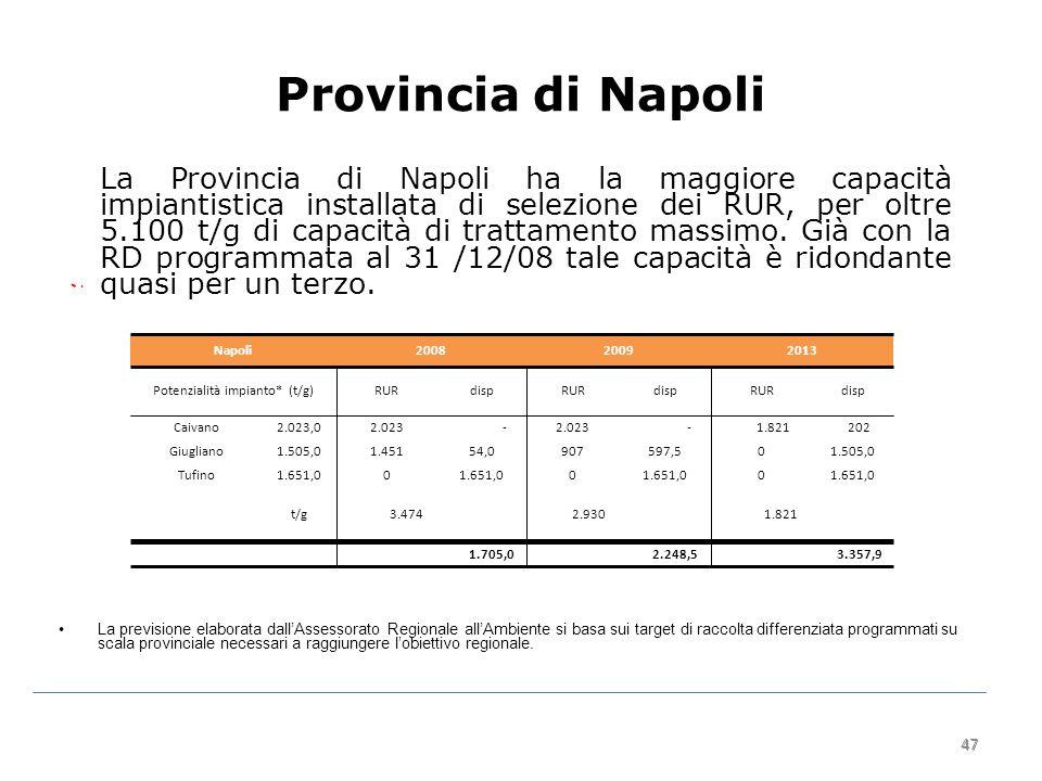 47 Provincia di Napoli La Provincia di Napoli ha la maggiore capacità impiantistica installata di selezione dei RUR, per oltre 5.100 t/g di capacità di trattamento massimo.