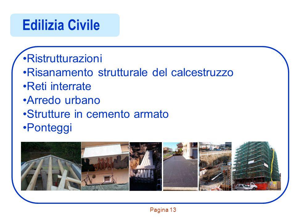 Pagina 13 Edilizia Civile Ristrutturazioni Risanamento strutturale del calcestruzzo Reti interrate Arredo urbano Strutture in cemento armato Ponteggi