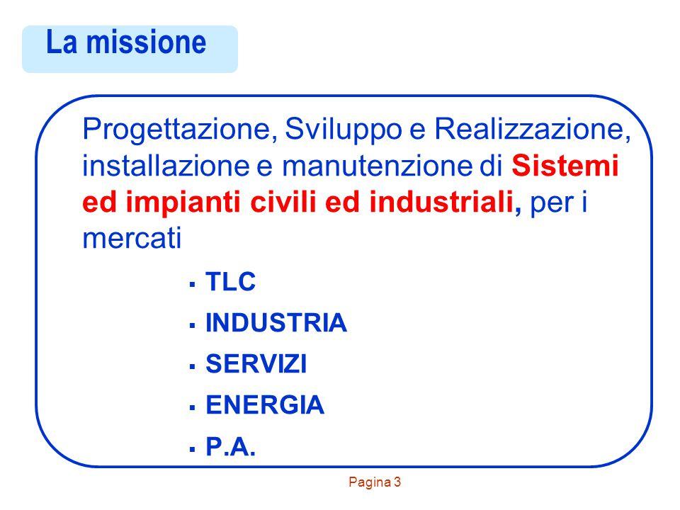 Pagina 3 La missione Progettazione, Sviluppo e Realizzazione, installazione e manutenzione di Sistemi ed impianti civili ed industriali, per i mercati