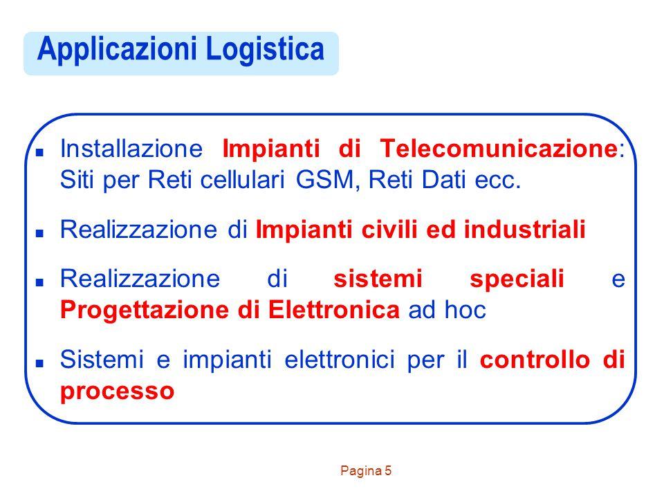 Pagina 5 Applicazioni Logistica n Installazione Impianti di Telecomunicazione: Siti per Reti cellulari GSM, Reti Dati ecc. n Realizzazione di Impianti