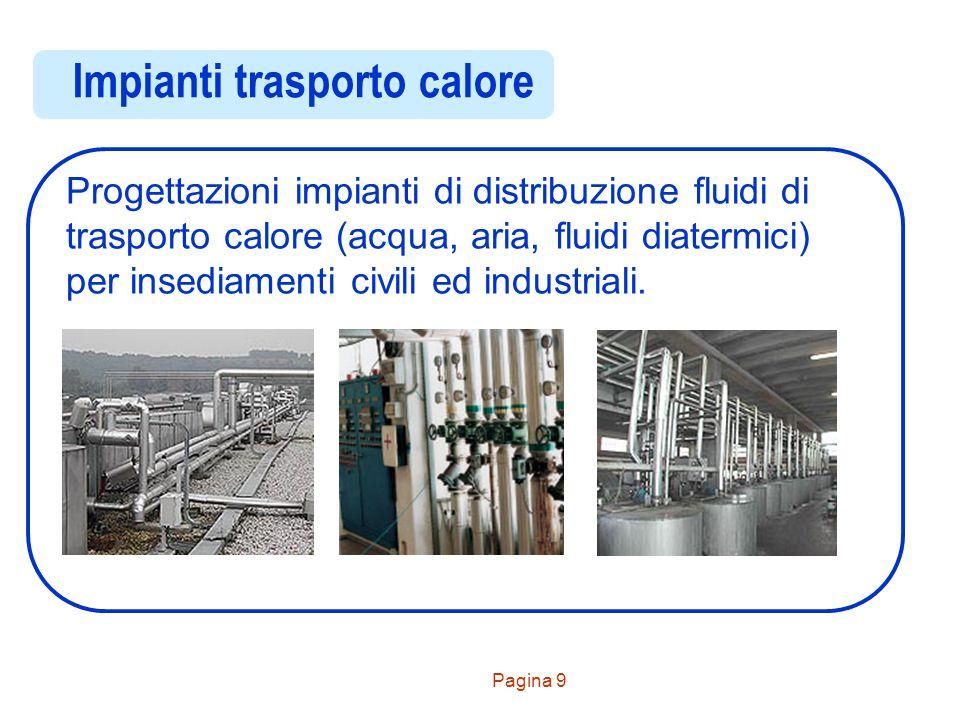 Pagina 9 Impianti trasporto calore Progettazioni impianti di distribuzione fluidi di trasporto calore (acqua, aria, fluidi diatermici) per insediament