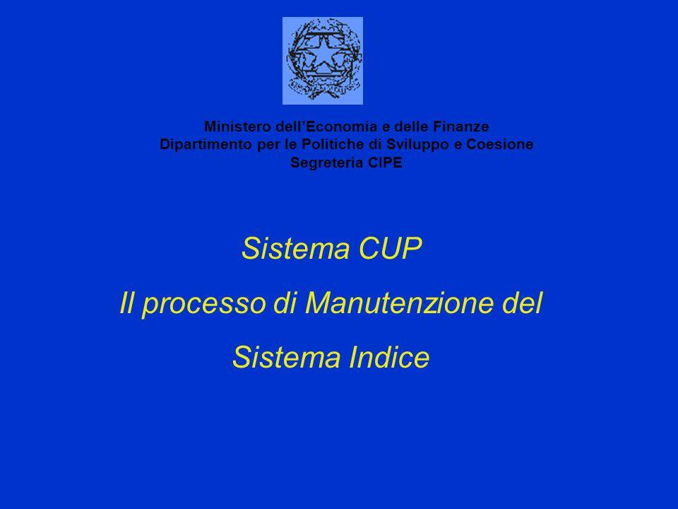 Sistema CUP Il processo di Manutenzione del Sistema Indice Ministero dell'Economia e delle Finanze Dipartimento per le Politiche di Sviluppo e Coesion