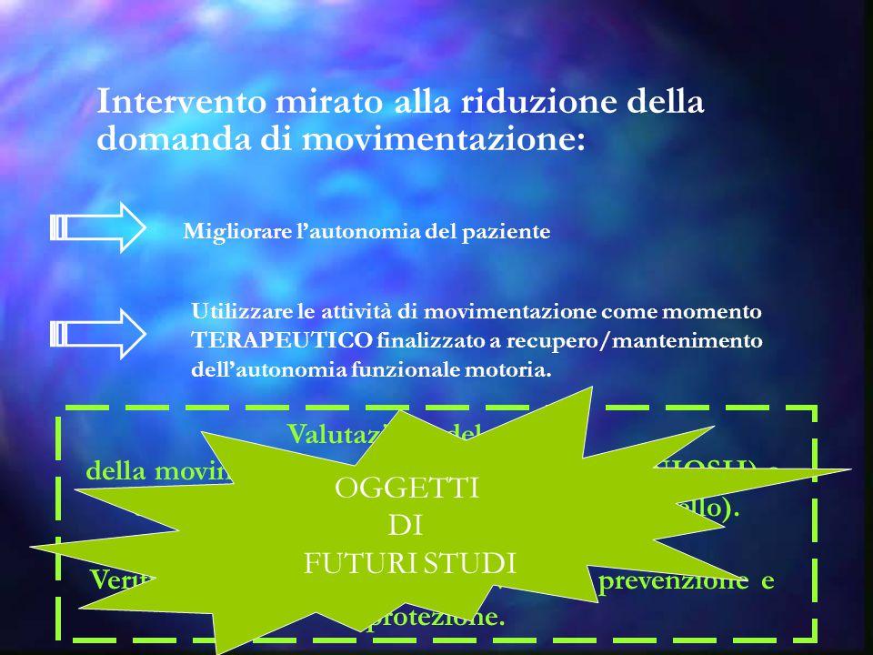 Intervento mirato alla riduzione della domanda di movimentazione: Migliorare l'autonomia del paziente Utilizzare le attività di movimentazione come mo