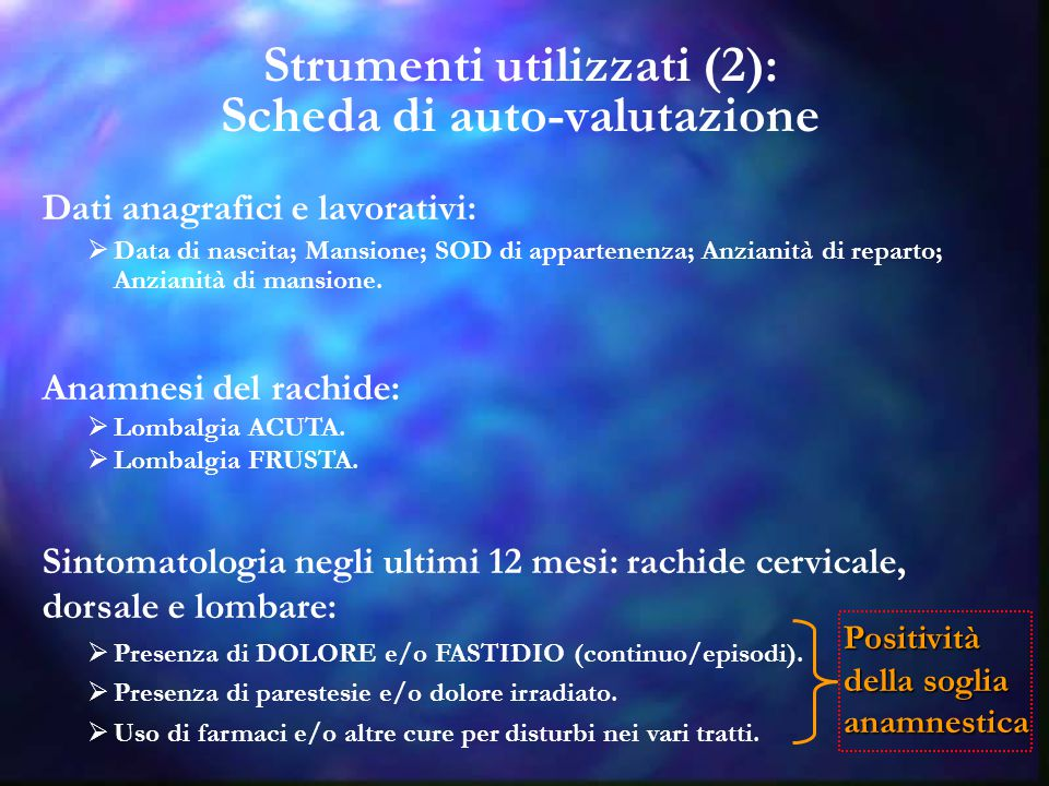 Strumenti utilizzati (2): Scheda di auto-valutazione Dati anagrafici e lavorativi:  Data di nascita; Mansione; SOD di appartenenza; Anzianità di repa