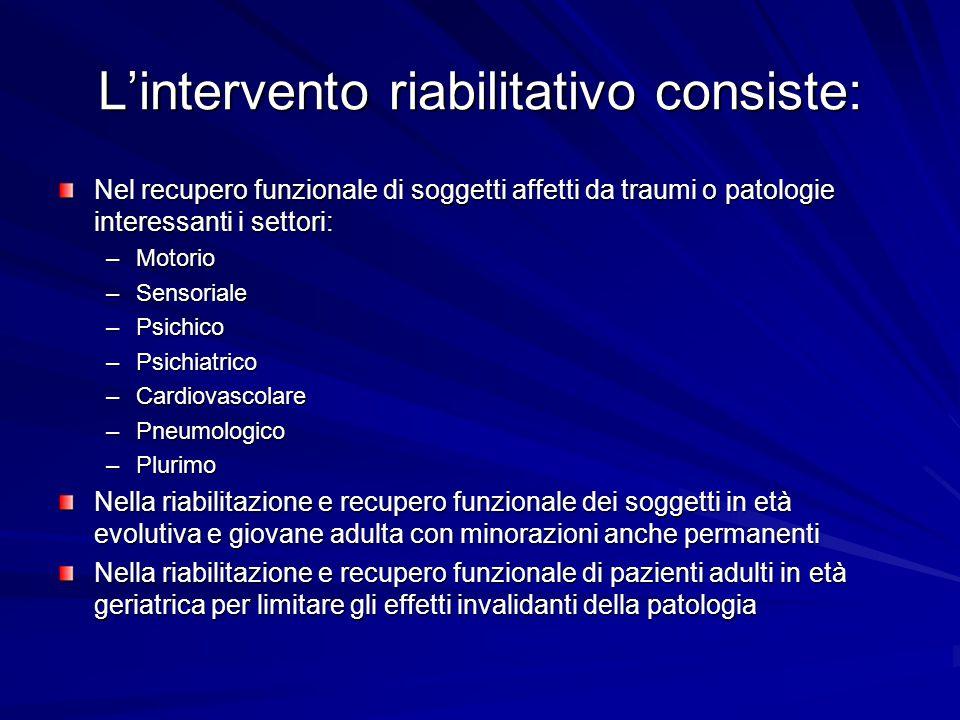 L'intervento riabilitativo consiste: Nel recupero funzionale di soggetti affetti da traumi o patologie interessanti i settori: –Motorio –Sensoriale –P