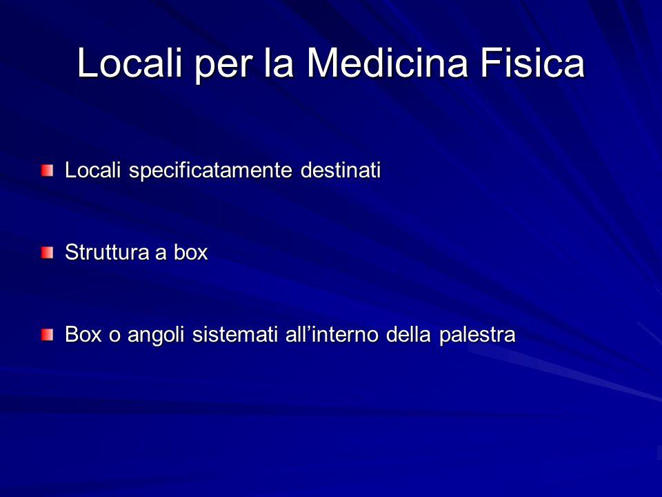Locali per la Medicina Fisica Locali specificatamente destinati Struttura a box Box o angoli sistemati all'interno della palestra