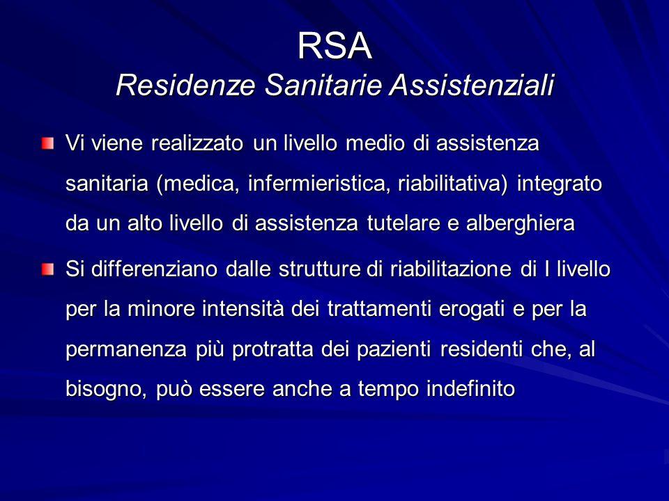 RSA Residenze Sanitarie Assistenziali Vi viene realizzato un livello medio di assistenza sanitaria (medica, infermieristica, riabilitativa) integrato