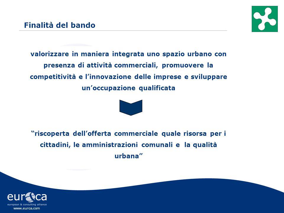 www.eurca.com valorizzare in maniera integrata uno spazio urbano con presenza di attività commerciali, promuovere la competitività e l'innovazione delle imprese e sviluppare un'occupazione qualificata riscoperta dell'offerta commerciale quale risorsa per i cittadini, le amministrazioni comunali e la qualità urbana Finalità del bando
