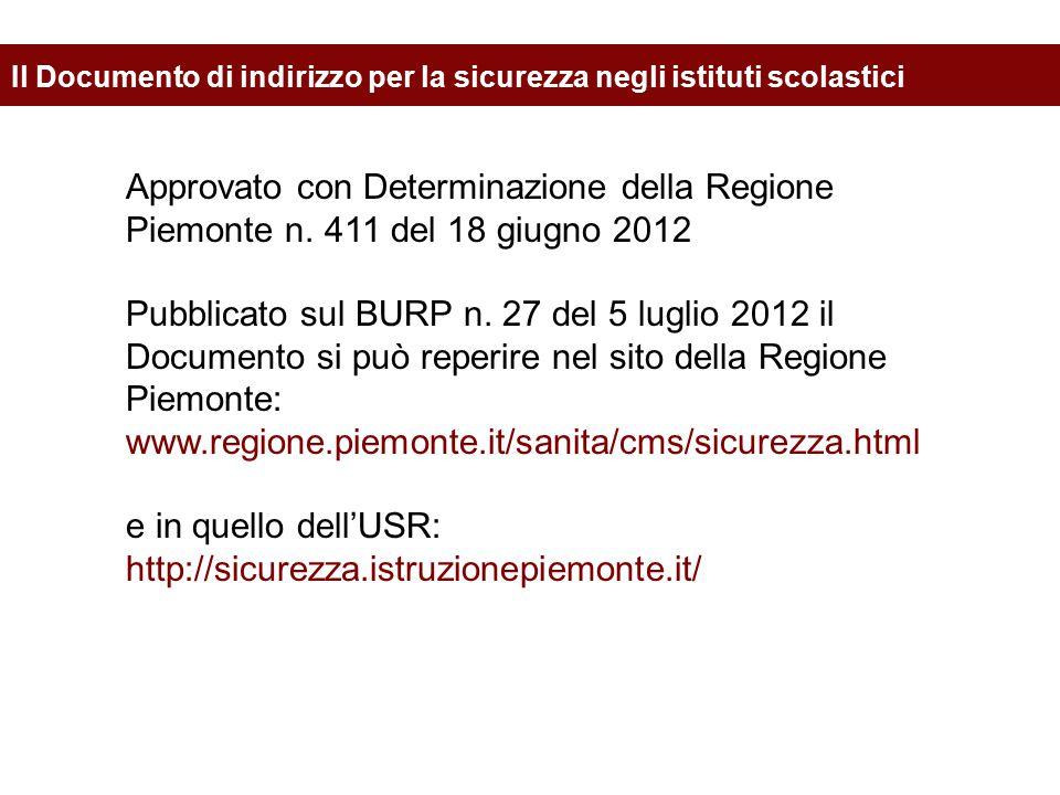 Approvato con Determinazione della Regione Piemonte n. 411 del 18 giugno 2012 Pubblicato sul BURP n. 27 del 5 luglio 2012 il Documento si può reperire