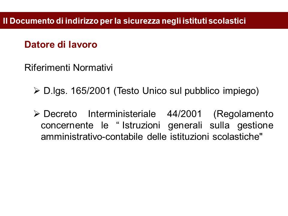 Datore di lavoro Riferimenti Normativi  D.lgs. 165/2001 (Testo Unico sul pubblico impiego)  Decreto Interministeriale 44/2001 (Regolamento concernen