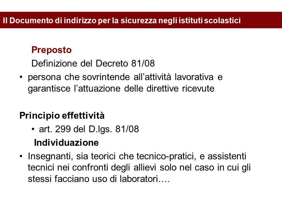 Preposto Definizione del Decreto 81/08 persona che sovrintende all'attività lavorativa e garantisce l'attuazione delle direttive ricevute Principio ef