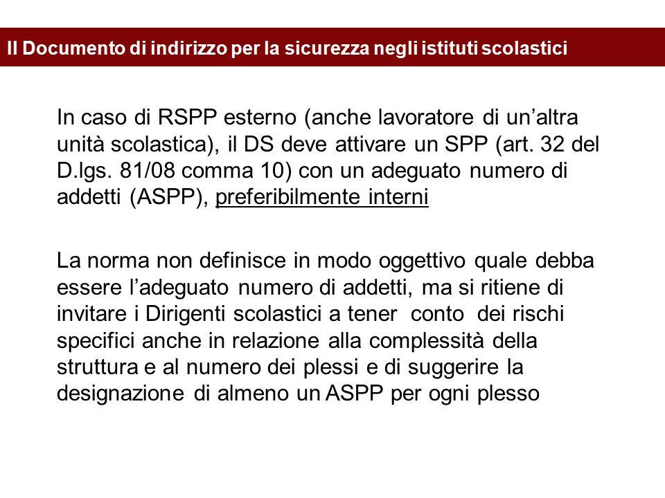 In caso di RSPP esterno (anche lavoratore di un'altra unità scolastica), il DS deve attivare un SPP (art. 32 del D.lgs. 81/08 comma 10) con un adeguat