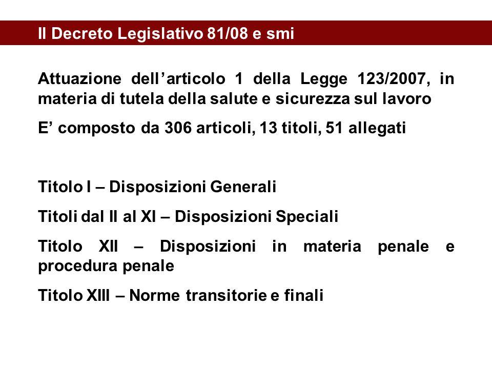 Il Decreto Legislativo 81/08 e smi Attuazione dell'articolo 1 della Legge 123/2007, in materia di tutela della salute e sicurezza sul lavoro E' compos
