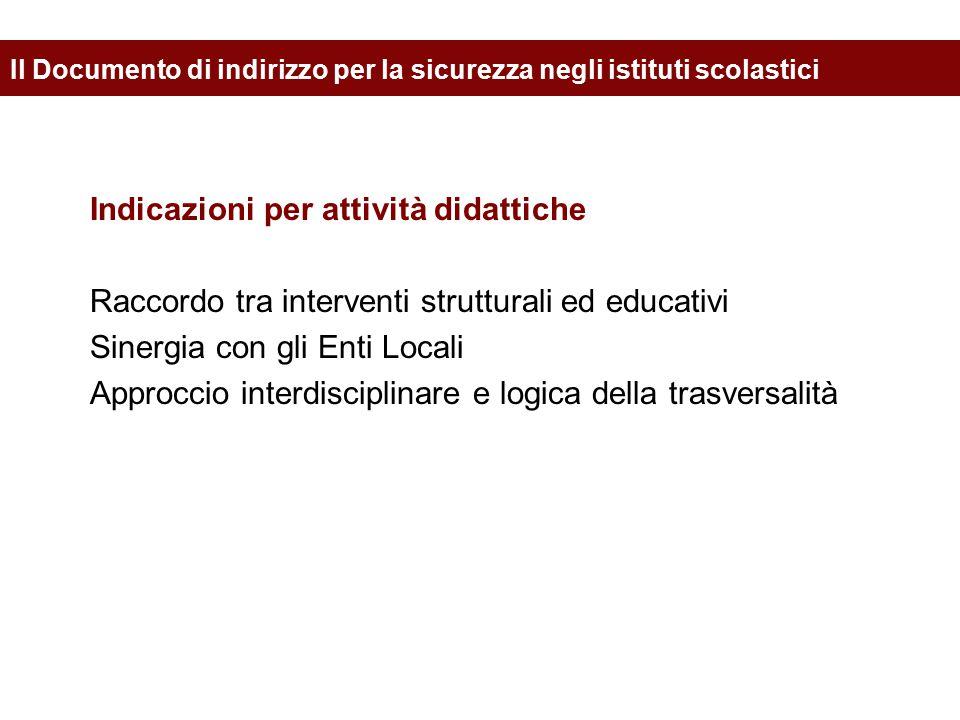 Indicazioni per attività didattiche Raccordo tra interventi strutturali ed educativi Sinergia con gli Enti Locali Approccio interdisciplinare e logica