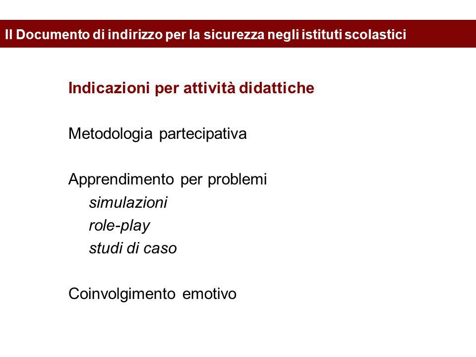 Indicazioni per attività didattiche Metodologia partecipativa Apprendimento per problemi simulazioni role-play studi di caso Coinvolgimento emotivo Il