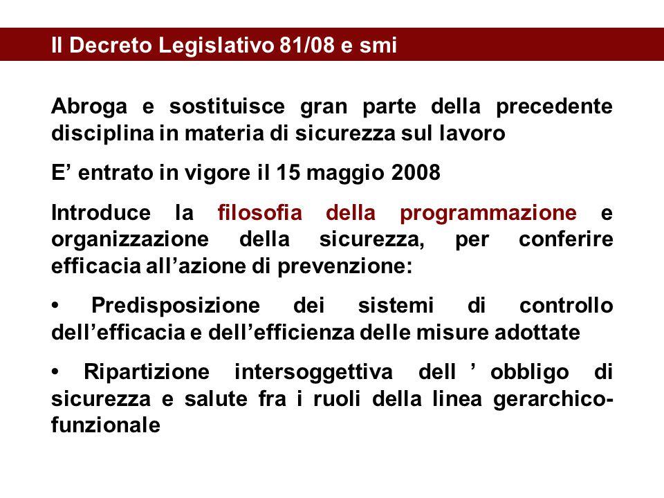 Il Decreto Legislativo 81/08 e smi Abroga e sostituisce gran parte della precedente disciplina in materia di sicurezza sul lavoro E' entrato in vigore
