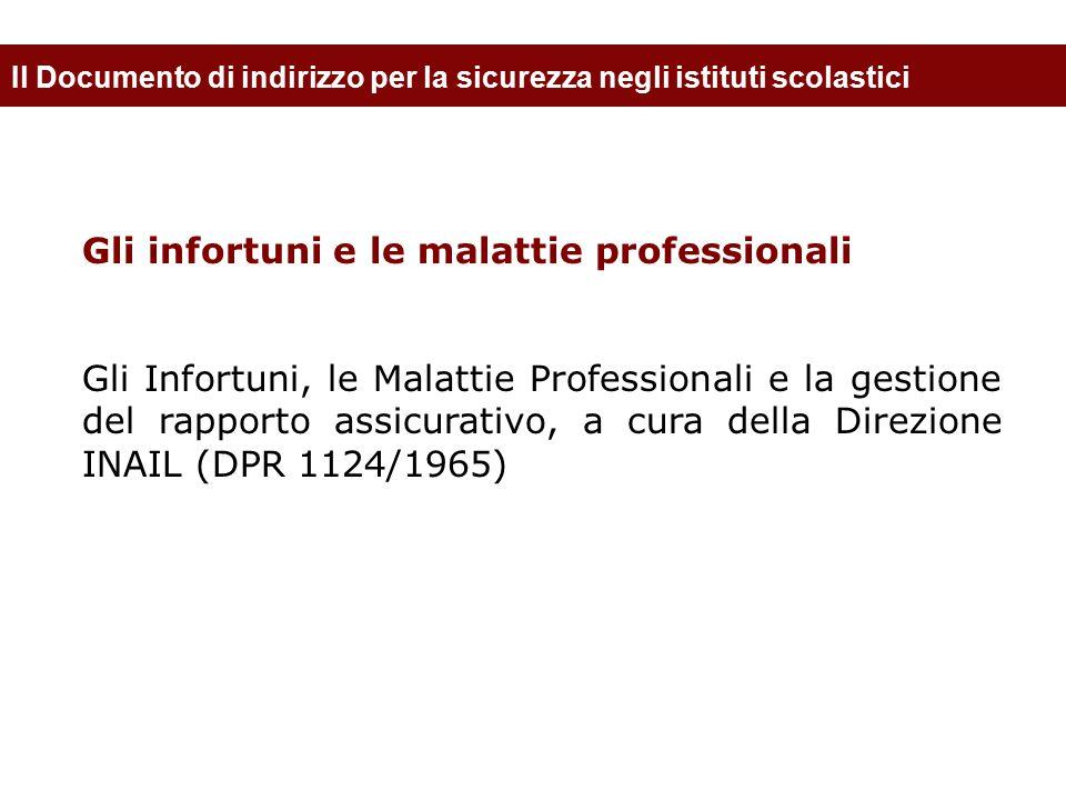 Il Documento di indirizzo per la sicurezza negli istituti scolastici Gli infortuni e le malattie professionali Gli Infortuni, le Malattie Professional