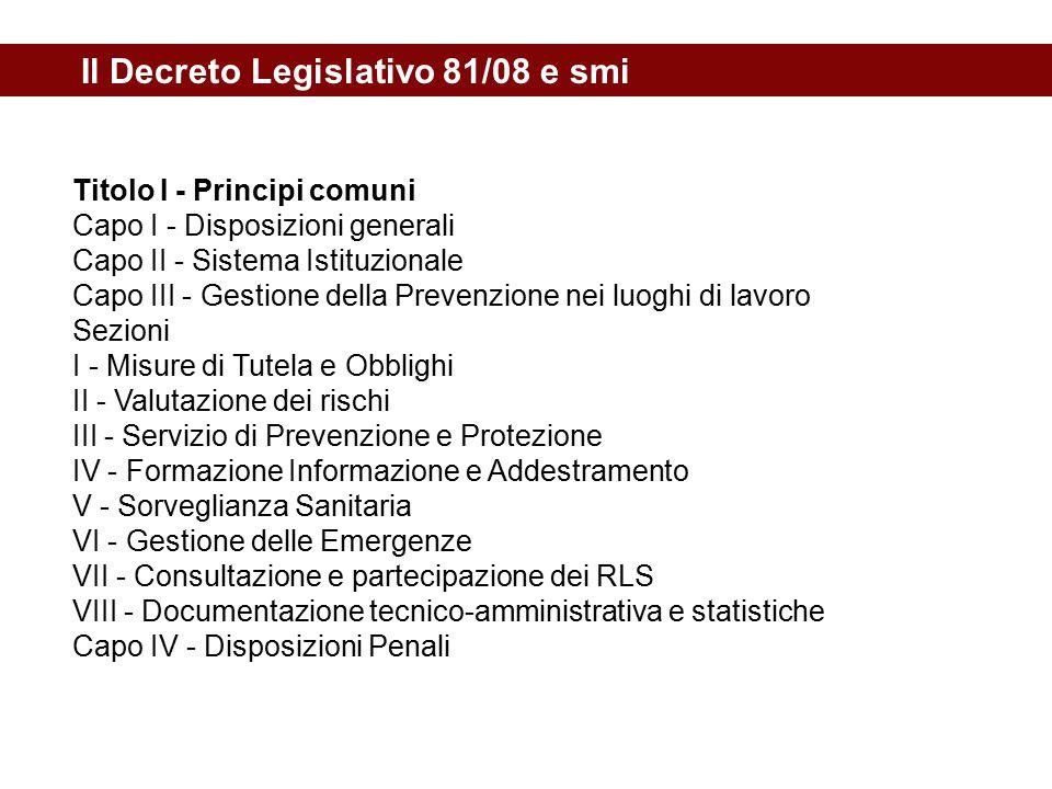 Il Decreto Legislativo 81/08 e smi Titolo I - Principi comuni Capo I - Disposizioni generali Capo II - Sistema Istituzionale Capo III - Gestione della