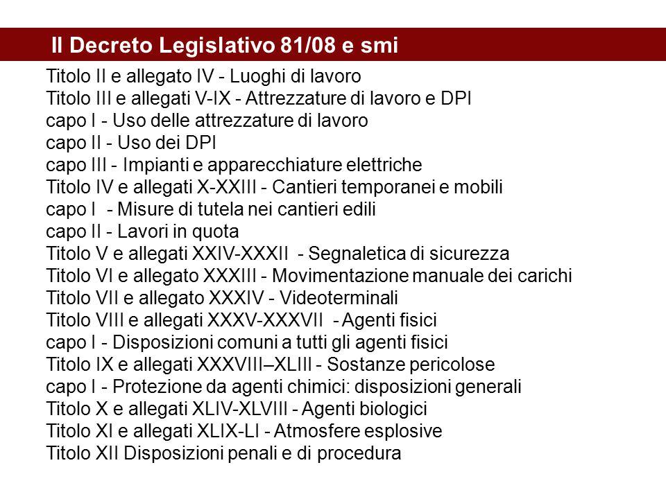 Il Decreto Legislativo 81/08 e smi Titolo II e allegato IV - Luoghi di lavoro Titolo III e allegati V-IX - Attrezzature di lavoro e DPI capo I - Uso d