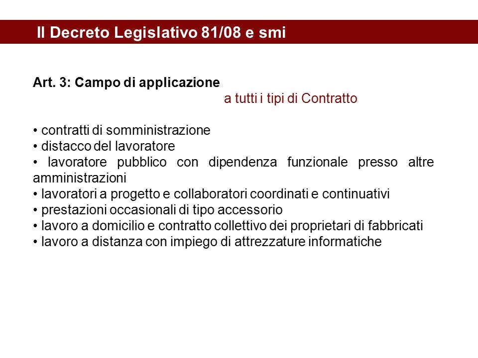 Il Decreto Legislativo 81/08 e smi Art. 3: Campo di applicazione a tutti i tipi di Contratto contratti di somministrazione distacco del lavoratore lav