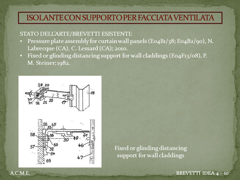 STATO DELL'ARTE/BREVETTI ESISTENTI: Pressure plate assembly for curtain wall panels (E04B1/38; E04B2/90), N.