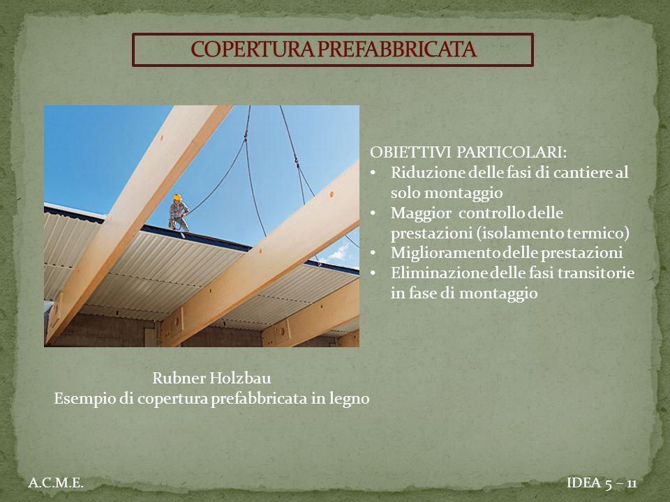 IDEA 5 – 11A.C.M.E. OBIETTIVI PARTICOLARI: Riduzione delle fasi di cantiere al solo montaggio Maggior controllo delle prestazioni (isolamento termico)