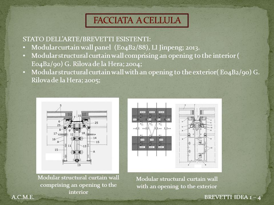 STATO DELL'ARTE/BREVETTI ESISTENTI: Modular curtain wall panel (E04B2/88), LI Jinpeng; 2013.