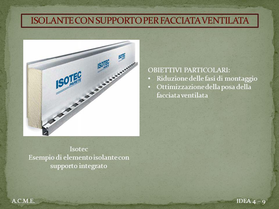IDEA 4 – 9A.C.M.E. OBIETTIVI PARTICOLARI: Riduzione delle fasi di montaggio Ottimizzazione della posa della facciata ventilata Isotec Esempio di eleme