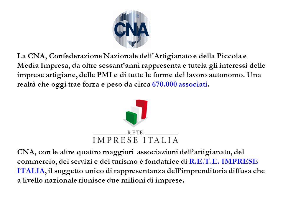 La CNA, Confederazione Nazionale dell'Artigianato e della Piccola e Media Impresa, da oltre sessant'anni rappresenta e tutela gli interessi delle impr